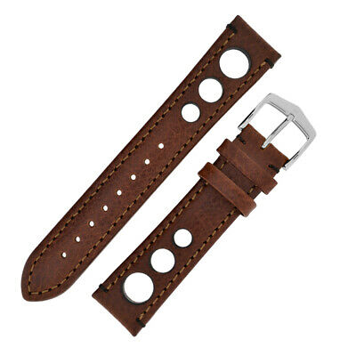 Hirsch RALLY Natural Perforated Racing Calf Leather Watch Strap in BROWN/BROWN