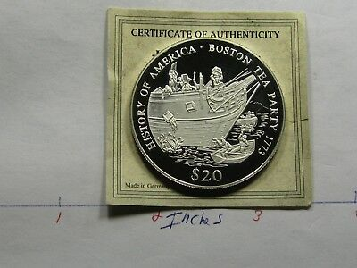 Boston Tea Party 1773 Revolutionary War $20 Liberia Rare 999 Silver Coin B-17