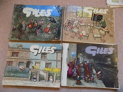4 Giles Annuals Daily & Sunday Express Cartoons 1956 '59 '66 '69 TORN COVERS!
