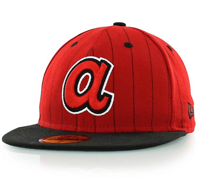 5055c7ad269 New Era SIDE STRIPER ATLANTA BRAVES 59Fifty Fitted Hat Cap - Size 7
