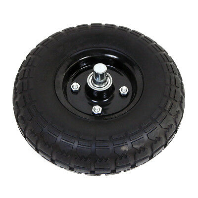 """Flat-Free Solid Rubber Tire 4.10/3.50-4 Wheel Replacement With Axle 6 Lbs 10"""""""