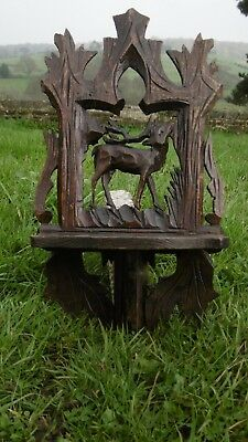 SUPERB 19thc BLACK FOREST OAK CARVED WALL SHELF WITH STAG C.1870's