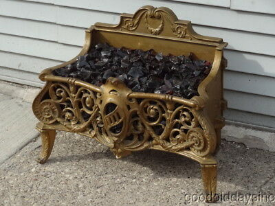 Superb Cast Iron Antique Fireplace Insert w Embers - Nice Big Ornate - Electric