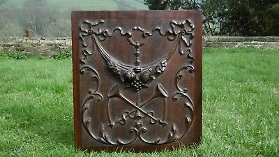 SUPERB 19thc BLACK FOREST RELIEF CARVED MAHOGANY PANEL WITH HUNTING HORNS & SWAG