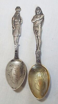 Pair of STERLING SILVER Indian NATIVE AMERICAN SOUVENIR SPOONS Ellensburg Duluth