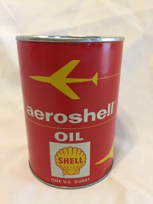 Vintage AEROSHELL OIL Shell Airplane Aircraft Oil Can 1 Quart Can UNOPENED NOS