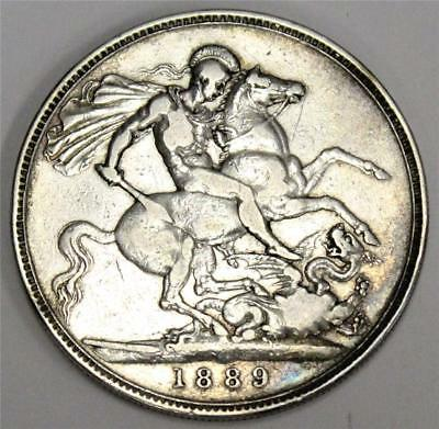 1889 Great Britain silver crown cleaned with small rim bump