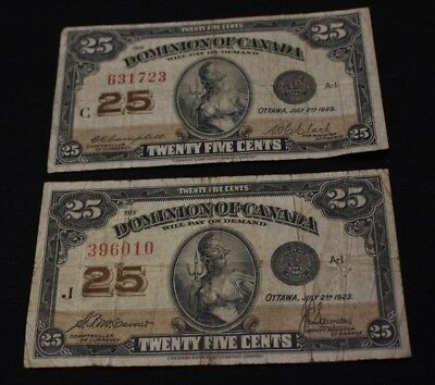lot of 2x 1923 25 cents Dominion Of Canada DC-24c DC-24d