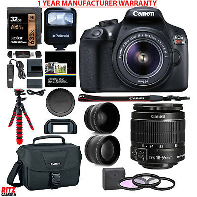 Canon EOS Rebel T6 DSLR Camera Kit with EF-S 18-55mm Lens + Lexar 32GB Bundle