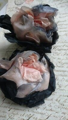 2 BEAUTIFUL ANTIQUE FRENCH CHAPEAU CORSAGES SILK ROSES c1910