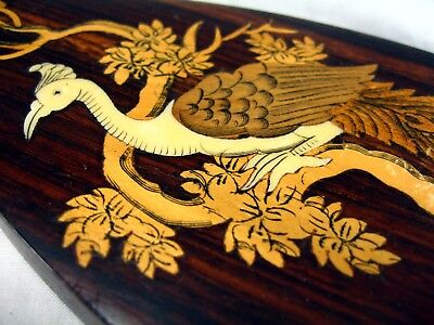 Vintage Stunning Wood Inlaid Peacock Picture Marquetry Work Vase Shaped Old