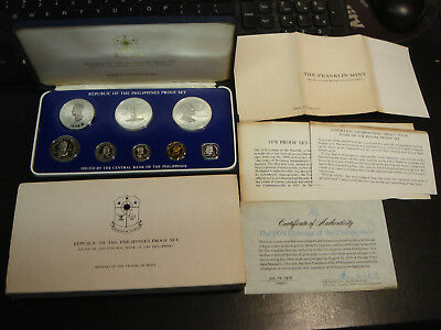 1978 Philippines Proof Set Franklin Mint 8 Coins Silver 50 & 25 Piso