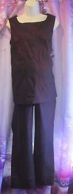 """""""A PEA IN THE POD"""" 2-Pc Dressy Pant Suit, Spring/Summer n Black Cherry Sz M"""
