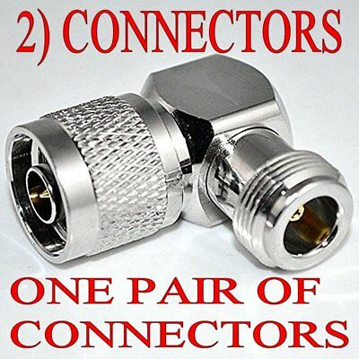 One PAIR N-Type Male to N-Type Female Right Angle 90 DEGREE RF Adapter Connector