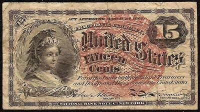 15 Cent Cents Fractional Currency United States Note 1869-1875 Paper Money
