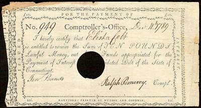 Dec 4, 1789 Connecticut Comptrollers Office Colonial Interest Note On Laid Paper