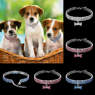 Pet Animal Dog Collar Necklace SML Rhinestone Diamante Bling Sparkly Stretchy