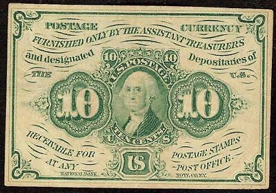 10 CENT FIRST ISSUE FRACTIONAL CURRENCY POSTAGE NOTE 1862 1863 WAR MONEY Fr 1242