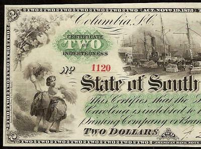Large 1873 $2 Dollar Bill South Carolina Note Obsolete Currency Paper Money Au