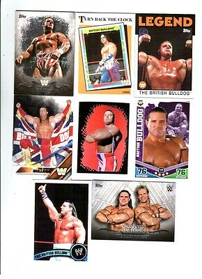 British Bulldog Wrestling Lot of 8 Different Trading Cards 2 Inserts WWE BB-E1