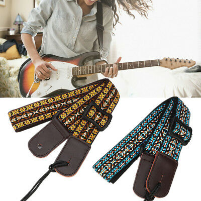 Vintage Style Electric Guitar Ukulele Strap Woven Embroidery Fabric Leather Ends