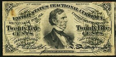 FR1291 3rd Issue 25¢ Fessenden Fractional~Red Back~XF/AU
