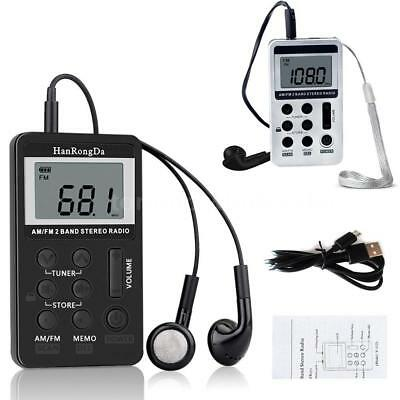 Mini Digital Portable Pocket LCD AM FM Radio 2 Band Stereo Receiver w/Headphone