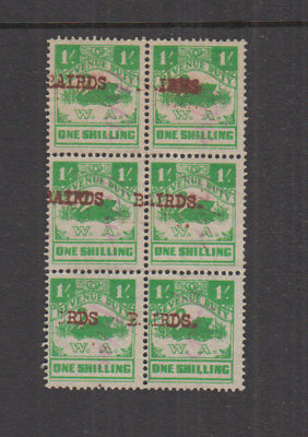 WA 1941 1/- green SMALLSWAN Revenue-BAIRDS -WCrownA sideways- Elsmore Cat $100++
