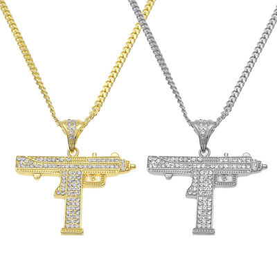 Cool Boys Girls Gold Silver Crystal Tone Machine Pistol Chain Gun Necklace Gift