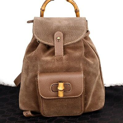 0064c0981a85 Authentic GUCCI Bamboo Brown Suede Leather Backpack Bag Hand Bag Italy  Vintage
