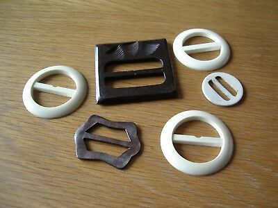 6 Assorted Vintage Buckles—5 Plastic + 1 Mother Of Pearl.