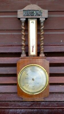 Large Vintage Antique Barometer/Thermometer with Barley Twist Wooden Decoration
