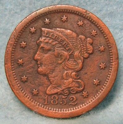 1852 Braided Hair Large Cent XF Details * US Coin *