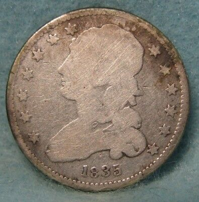 1835 Capped Bust Silver Quarter GOOD Details * US Coin *