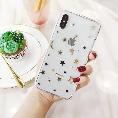 For iPhone X 8 7 6s Plus Shockproof Bling Cute Star Clear Case Soft Rubber Cover