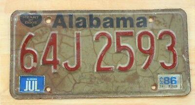 1986 Vintage Alabama License Plate Auto Car Vehicle Tag Heart Of Dixie Item #191