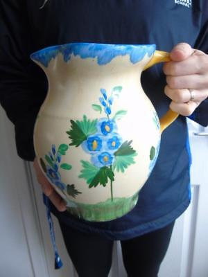 Large Vintage Hancock's Ivory Ware Hand Painted Floral Water Jug 9""