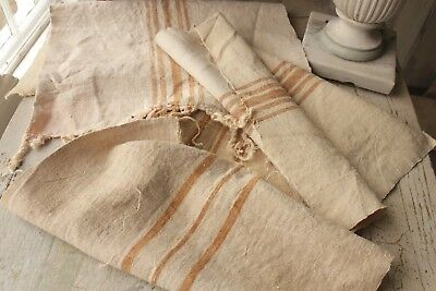 3 Antique  linen for pillows etc! Washed hand woven linen 3 pieces ~