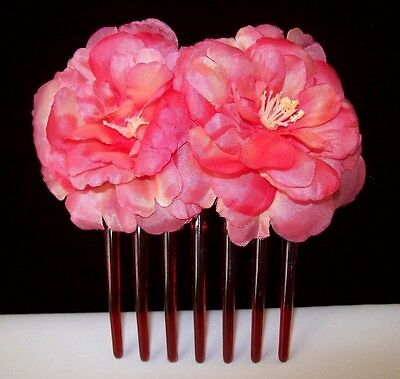 Lovely Fabric Double Flower Hair Acrylic Comb w/Rosey-Pink Color Flowers