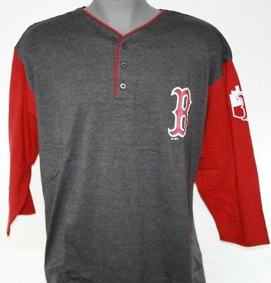 baacbad0 Mens Majestic Boston Red Sox Henley 3/4 Sleeve Grey Baseball Jersey Shirt