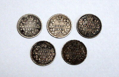 Lot of 5 Circulated Canadian Five Cents - 92.5% Silver