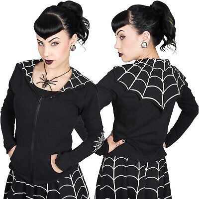 Kreepsville 666 Spiderweb White Bat Flap Punk Emo Goth Rock Womens Jacket GBJSWW