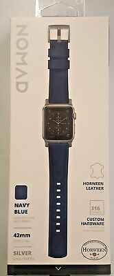 Nomad - Stainless Steel And Leather Watch Strap for Apple Watch 42mm - Navy blue