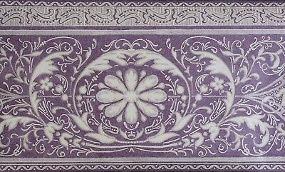 Floral Scroll Filigree Lilac Silver Architectural Crown Molding Wallpaper Border