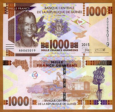 Guinea, 1000 francs, 2015, Pick New, UNC > Redesigned