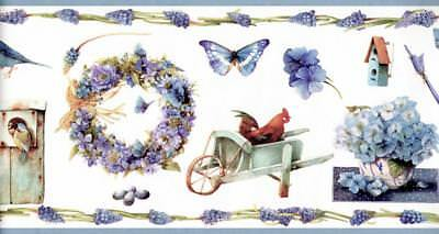 Floral Trail Wreath Birdhouse Butterfly Gardenign Rooster Blue Wallpaper Border