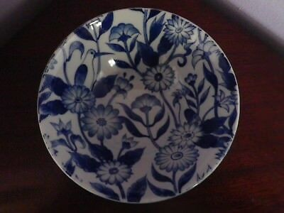 Fab Vintage Japanese Blue & White  Flowers & Birds Design Tall Bowl 15 Cms Dia