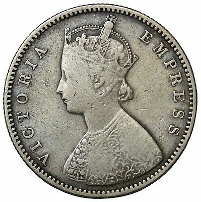 British India 1884-B Plain Queen Victoria Silver 1/2 Half Rupee KM#491