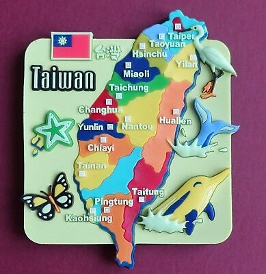 Souvenir Fridge Magnet Taiwan Map And All The Cities