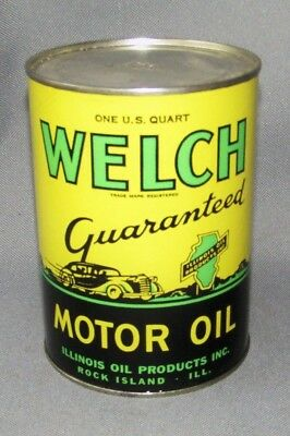 Vintage WELCH ILLINOIS Composition Motor Oil Can